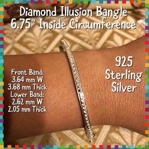 Jewelry - 925 Sterling Silver Diamond Illusion Bangle